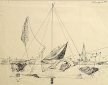 Chioggia, Segelboot am Strand