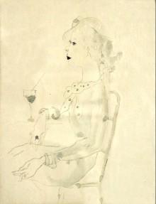 Wilhelm Thöny Federzeichnung, laviert Dame mit Cocktailglas