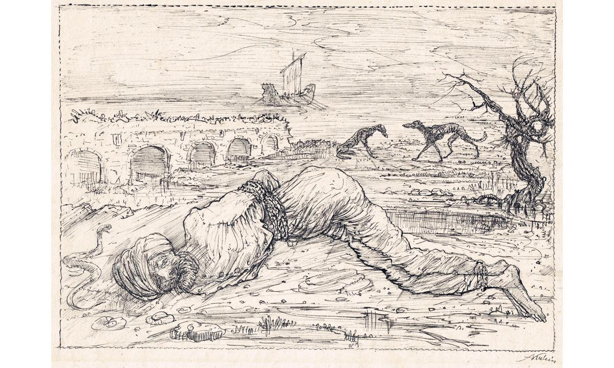 Federzeichnung, Alfrded Kubin, Der Ausgesetzte, 1920