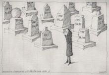 Trauernder Künstler vor den Grabmälern seiner Idden II