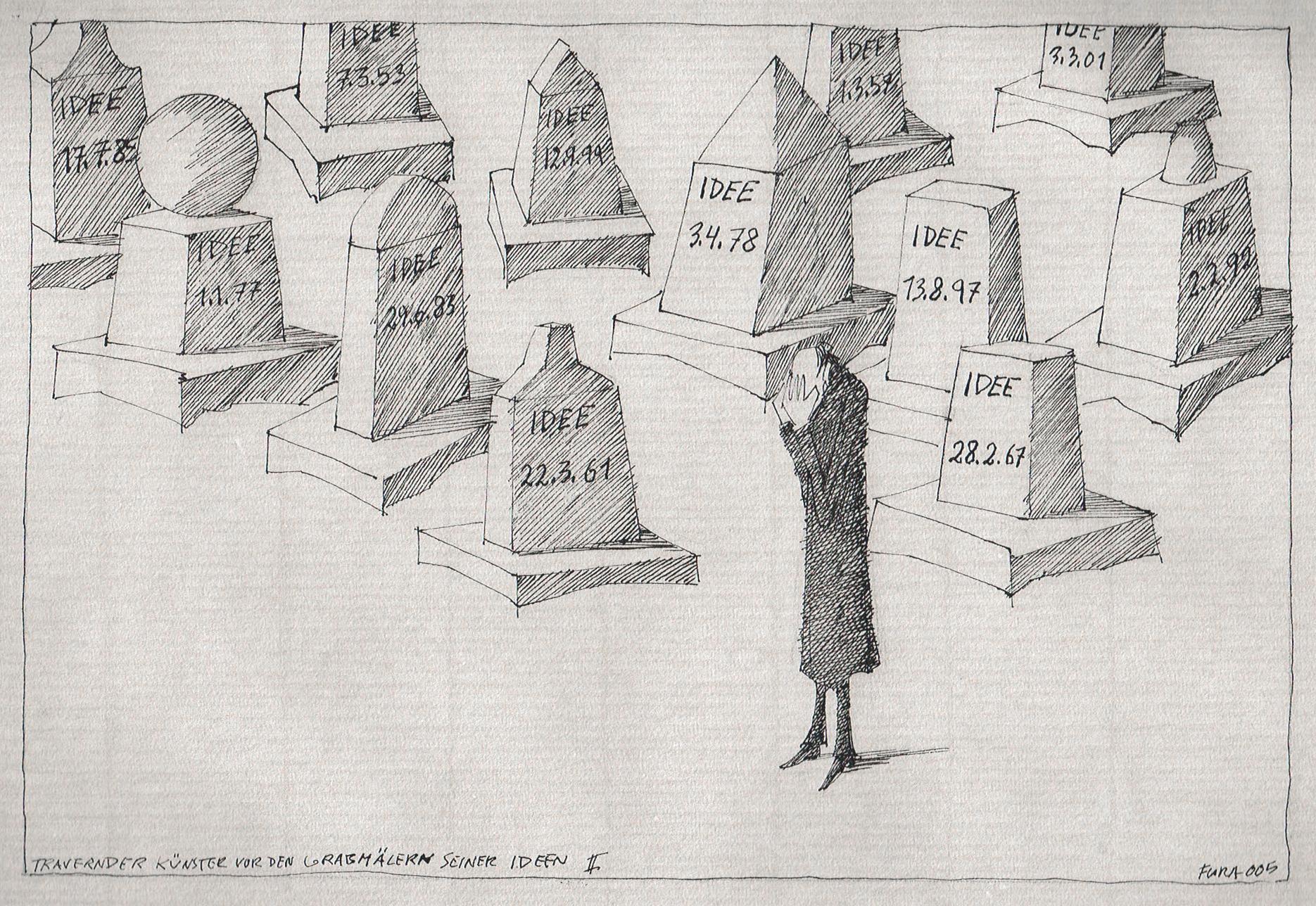 Flora Zeichnung Trauernder Künstler vor den Grabmälern seiner Ideen