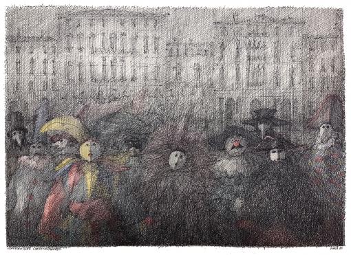 Paul Flora Venezianische Karnevalsfiguren