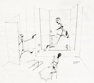 Paul Flora Überstürzter Abschied Feder 1950