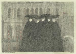 Paul Flora Fünf venezianische Masken Feder 1989