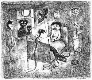 Paul Flora, Nachtmahr, Feder 1949