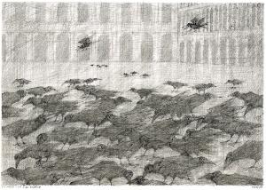Paul Flora, Die Raben von San Marco, Federzeichnung,1989