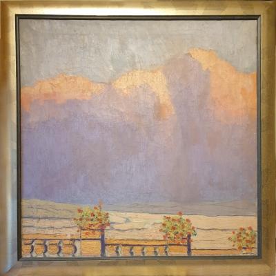 Werner Alvo von Alvensleben, Ölbild auf Leinwand, Alpenglühen