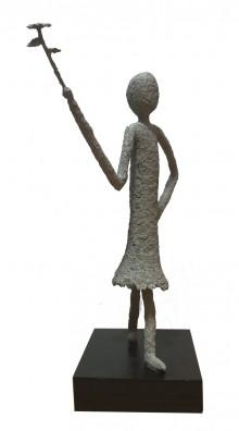 Anton Drioli Dame mit Blume Skulptur