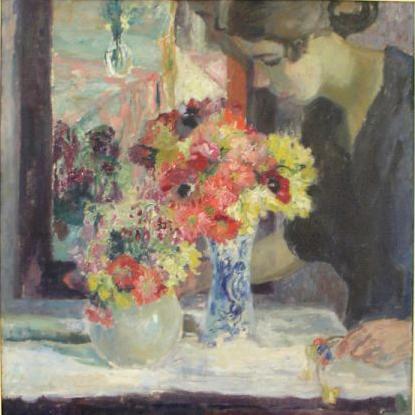 Armand Apol Mädchen mit Blumen