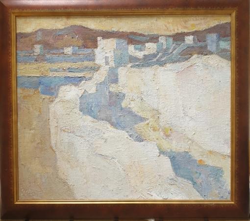 Wilfried Kirschl Öl auf Leinwand Abendlandschaft Tinos 1987