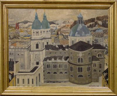 Salzburger Dom im Winter, 1956, Öl auf Hartfaserplatte; 44×55 cm