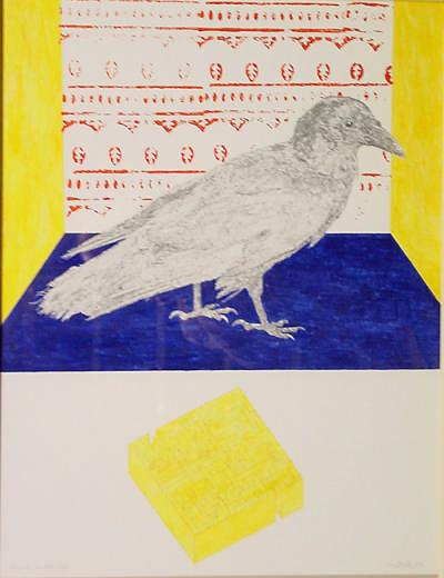 Labyrinth und großer Vogel, Bleistift Acryl