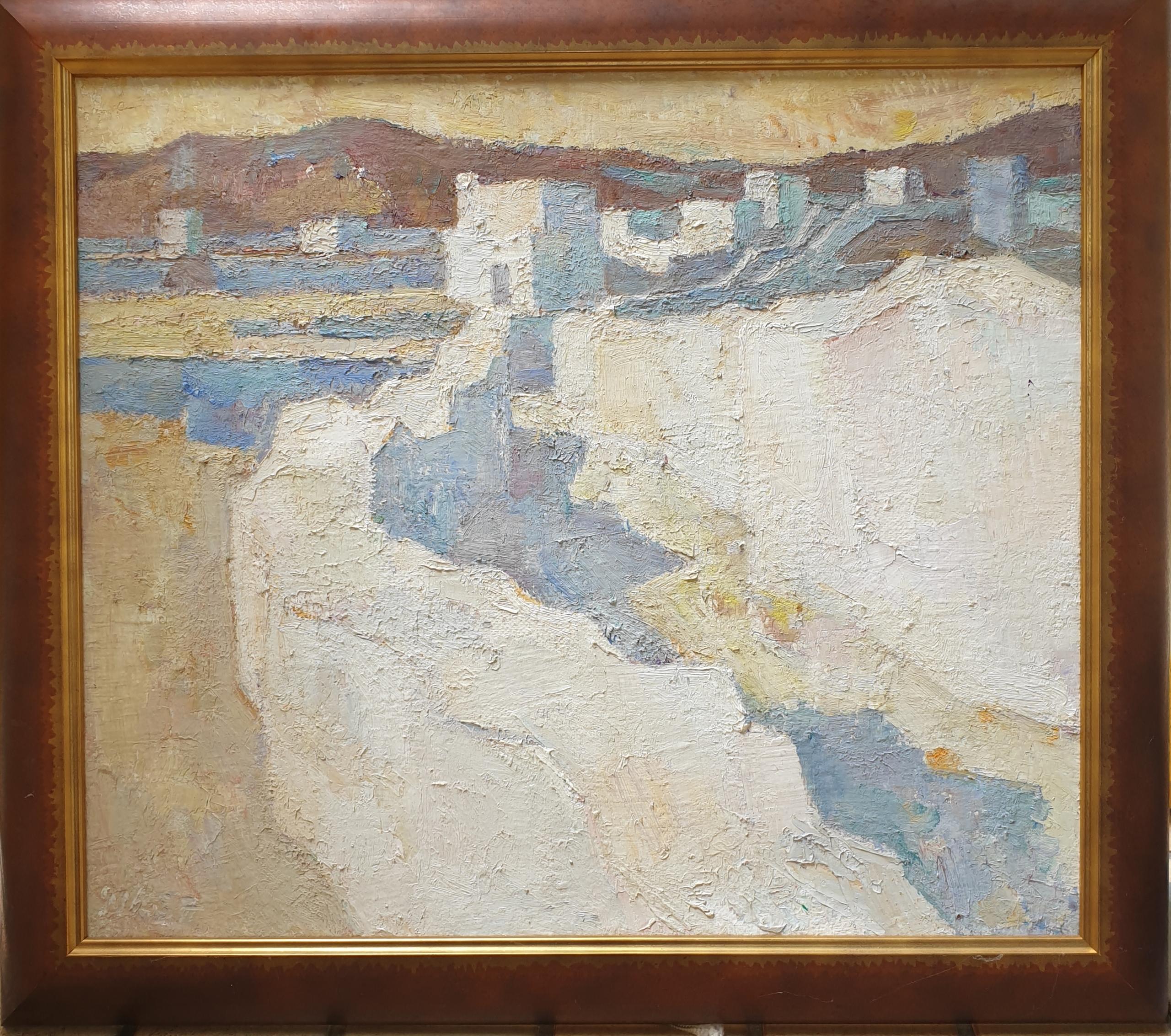 Abendlandschaft auf Tinos, 1987  Öl auf Leinwand, 52 x 69 cm