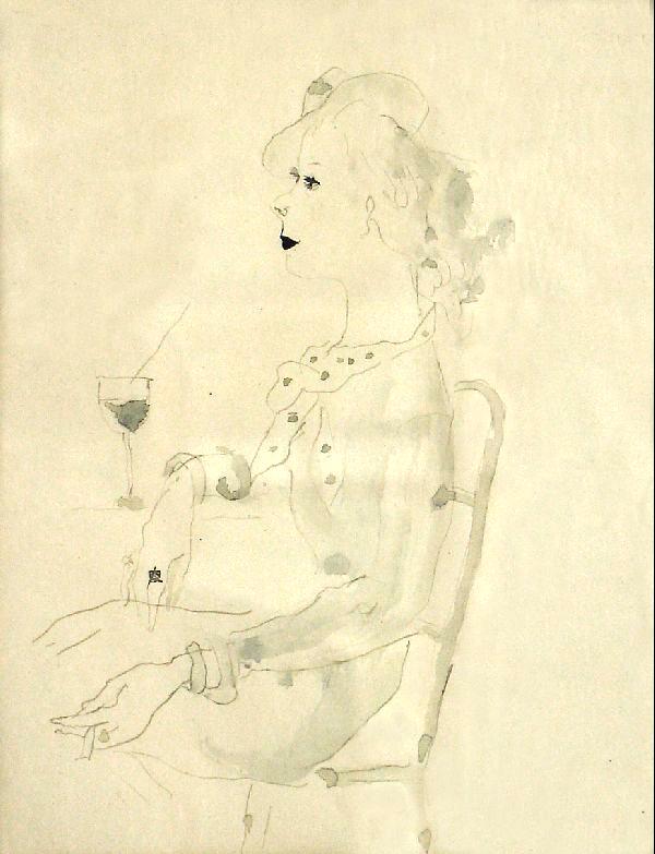 Dame mit Cocktailglas Kunstwerk