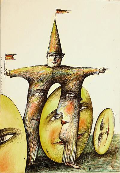 olen und Europa, 1987  Federzeichnung, Buntstift; 31×21 cm