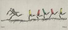 Paul Flora Zeichnung Panik
