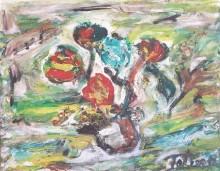 Fatima Ölbild Blumenvase 1989