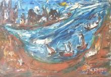 Fatima Ölbild Im Sturm vor der Küste 1989