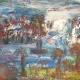 Fatima Ölbild Orientalische Stadt mit Teich 1988