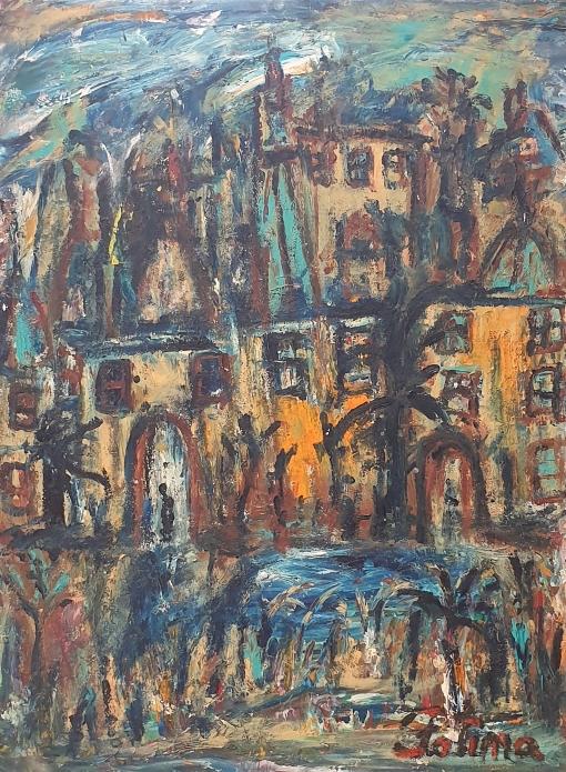 Fatima Ölbild Stadt am Wasser 1990